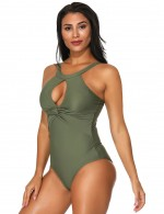 Airy Dark Green Ruched One Piece Swimwear Front Keyhole Honeymoon