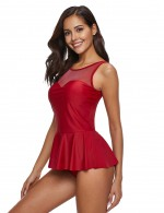 Trendy Red Big Size Flounce Bathing Suit Solid Color Beach Party