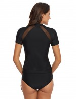 Tropical Black Short Sleeves 2 Pieces Swimwear Zip Stitching Hot Sale