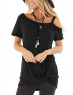 Modest Black Unsymmetric Shoulder Tops Short Sleeves Glamorous Look