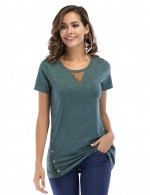 Army Green Solid Color Tops Side Buttons Understated Design