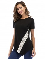 Graceful Black Irregular Hem Tops Lace Crew Collar Super Faddish