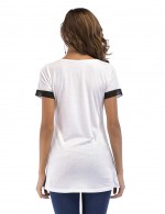 Eye Catching White Chiffon Splice Edge Tops Round Collar