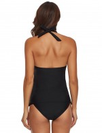 Slinky Black Plunging Halter Neck Tankini Sets Backless Fashion Sale