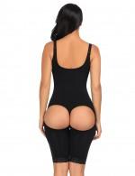 Perfect-Fit Black Open Butt Seamless Bodysuit Queen Size Firm Control