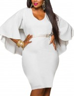 Ultra Cheap White V Collar Back Big Size Dress Long Sleeves Lightweight