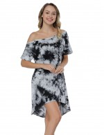 Mix Color Random Tie Dye Shift Dress Irregular Hem Women