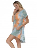 Orange Multi-Color Tie Dye Dress Short Sleeve Fashion Shop Online