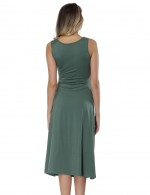 Army Green U Neck Waist Tie Midi Dresses Eye Catcher