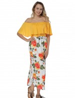 Side Split Yellow Flounce Bandeau Neck Dresses Female Elegance
