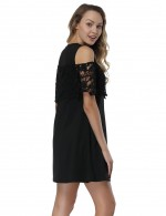 Black Cold Shoulder Short Dresses Stitching Floral Lace Fast Shipping