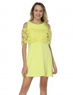 Yellow Mini A-Line Dresses Cold Shoulder Glamor