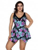 Summer Time Large Airy Floral Print Stitching Swimwear