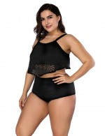Queen Size High Rise Black Swimwear Wholesale Online Hollow Out