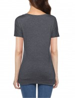Fresh Dark Grey Side Button O Collar Tops Folded Hem All-Match Style