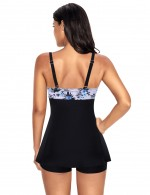Simplicity Floral Pattern Pleated Large Swimwear One Piece