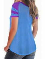 Blue Criss Cross Neck Color Block Tees Short Sleeve Versatile Item