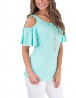 Fad Light Blue Scoop Neck Blouses Crossover Strap Comfort Fit