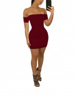Causal Wine Red Off Shoulder Self Tie Dress Mini Length Visual Effect