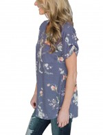 Affordable Blue Flower Pattern Top Tees Side Split Regular Hem
