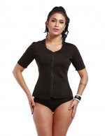 Waist Control Zipper Short Sleeve Large Neoprene Shaper With Pocket