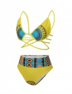 Female Sultry Yellow High Waist Swimwear Ethnic Printed Sleeveless