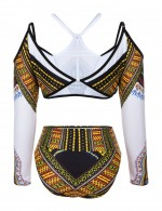 Eye Catcher White African Pattern Bikini Cold Shoulder Chocker Neck