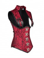 Fashion Blossom Print Red Plus Corset With Clasp Belt