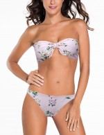 Wireless Flirtatious Pink Print Bikini Removable Pad