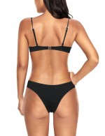 Multicolored Cami Straps Push Up Cup Bikini Black Low Waist Panty Swimwear