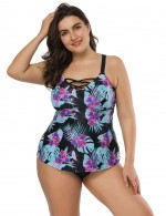 Slinky Floral Print Big Size Tankini Criss Cross Fashion Sale