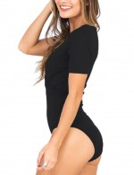 Special Black Wrapped Plunging Neck Jumpsuit High Cut Regular Fit