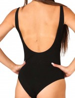 Exotic Black Plain Strappy Jumpsuit U-Shape Back For Strolling