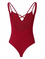 Captivating Wine Red Backless Tight Bodysuit Spaghetti Straps Trend
