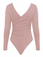 Gorgeously Pink Ruched Plain Bodysuit Wrap V-Neck Fashion Online