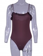 Causal Wine Red Flouncing Plain Bodysuit Snap Button For Party