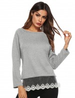 Relaxing Grey Lace Hem Patchwork Blouse Long Sleeves Simplicity