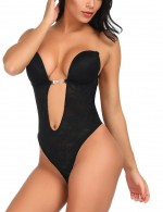 Tummy Control Black Underwire Lace Body Shaper Hooks and Eyes Ultra Cheap