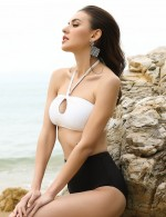 Sultry White Ribbed Padding No Wire Bikini Front Keyhole Cheap Online
