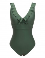 Delicate Dark Green Flounce One Piece Bathing Suit V-Neck Ultra Sexy