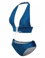 Flattering Blue Ruched Halter Two Pieces Swimwear Bowknot Delightful Garment