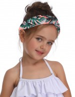 Fetching Leaf Pattern Elastic Hair Band Mom Children Pool Party
