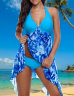 Smooth Blue Printed Swimming Dress Irregular Hemline Plus Size Feminine Grace
