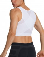 Flexible White Cross Mesh Cropped Top Mens Shaper 3 Rows Hooks Stretch