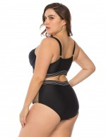 Bright Black Queen Size Two Pieces Stripes Swimwear Keyhole Weekend Fashion