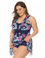Scintillating Dark Blue Lady Irregular Hem Floral Bathing Suit Queen Size