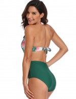 Summer Green Removable Pads Bathing Suit Ruched Leaf Pattern Online Wholesale