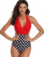 Beautifully Designed Red High Waist Stitching Beachwear Bowknot Pads High Quality