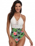Exotic Green Printed One Piece Beachwear Wireless Halter Neck Natural Women Fashion