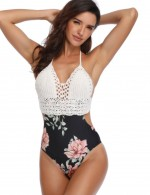 Fiercely White Crochet Hollow Out Swimsuit Unpadded Stitching New Fashion
